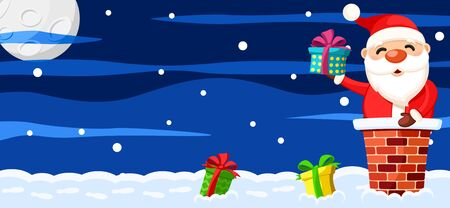 Santa Claus is sitting in the chimney on the roof and holding a gift box, Christmas background. Space for text. Stok Fotoğraf - 132879960