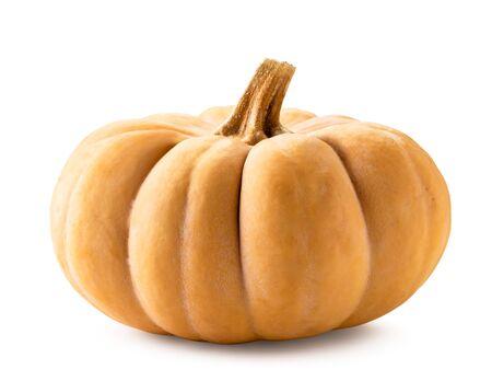 Ripe pumpkin close-up on a white background.