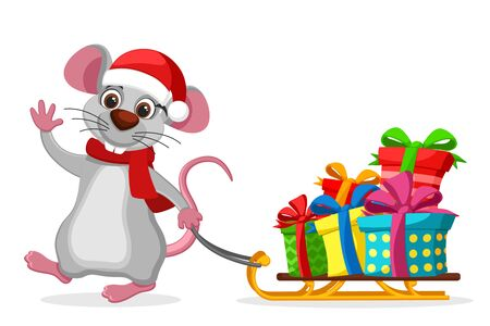 Mouse pulls a sled with gift boxes on a white background. New year character Stok Fotoğraf - 132913506