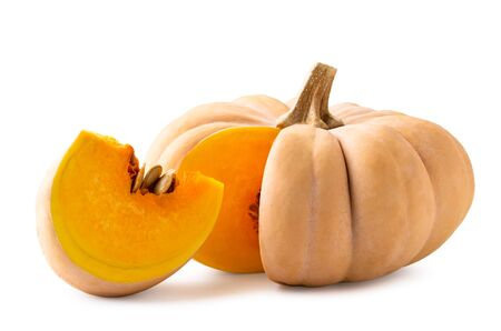 Ripe pumpkin with cut piece close up on a white background. Isolated. Stok Fotoğraf - 132992960
