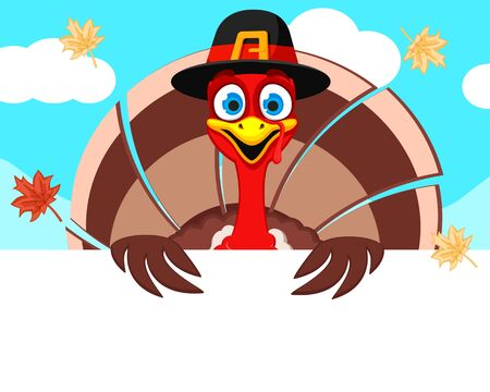A Turkey in a hat looks out from behind a white shield, a place for text. Thanksgiving day Stok Fotoğraf - 132977655