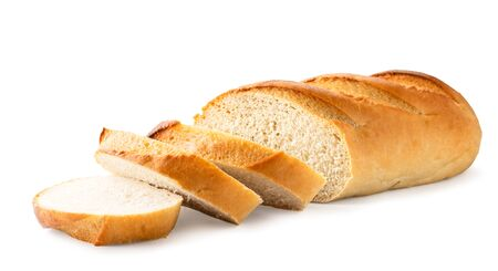Loaf of white bread cut into pieces close-up. Isolated, on white background.