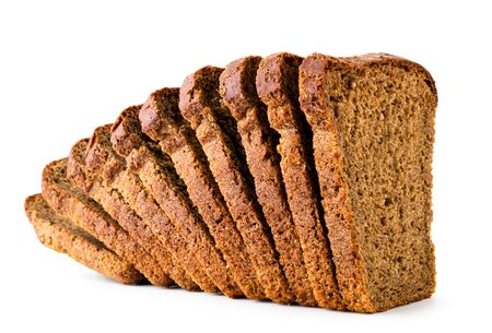 Rye bread cut into pieces close-up on a white background. Isolated. Stok Fotoğraf - 133065938