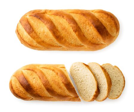 Two loaves of bread and sliced on a white background. The view of the top.