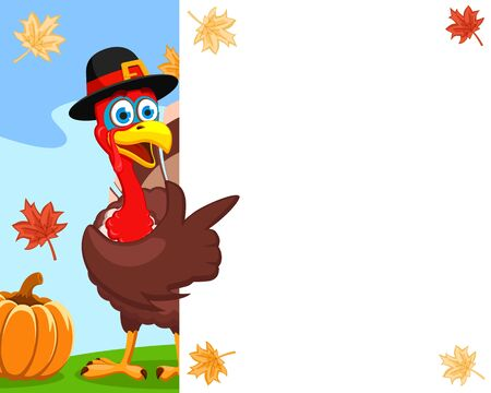 A Turkey in a hat points a wing to a white sheet, a place for text. Thanksgiving day. Stok Fotoğraf - 133165702