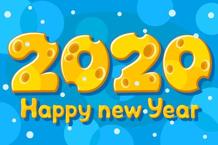 New year letters made of cheese. 2020 year of the mouse. Stok Fotoğraf - 133347249