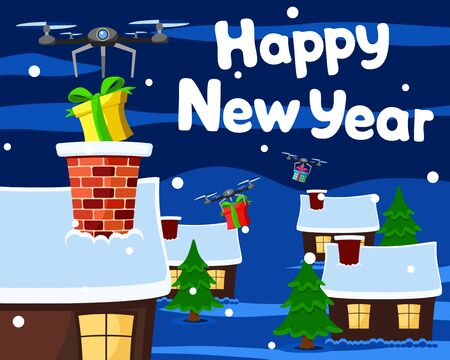 Quadrocopters deliver gifts boxes and drop them down the chimney of the house. Christmas background