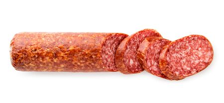Sausage cut into pieces on a white background. The view of the top.