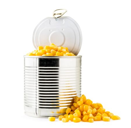 Open canned corn and pile on a white background. Isolated.