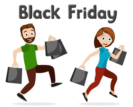 Man and woman running with shopping on a white. Black Friday