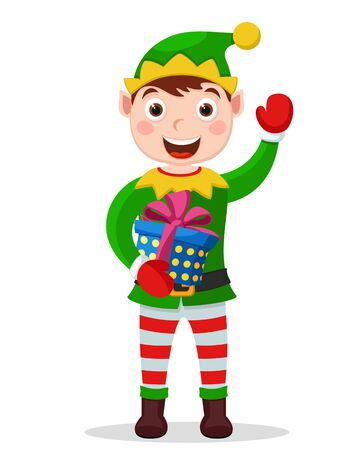 Santa helper holds a gift box and hand waves on a white. Christmas character