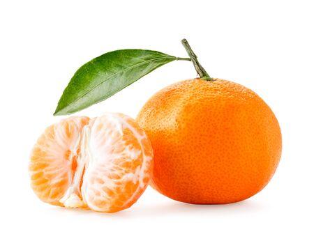 Ripe mandarin with leaf and peeled half on white background. Isolated