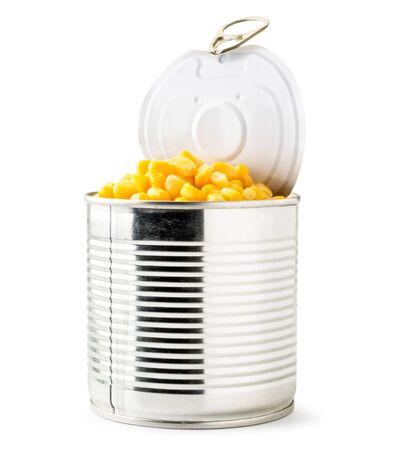Full can of canned corn on a white background. Isolated Banco de Imagens