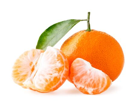 Ripe tangerine with a leaf, peeled half and slice on a white, isolated.