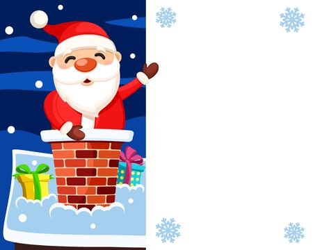 Santa Claus sits in the chimney of the house and points to a white shield, a place for text. Christmas Banco de Imagens