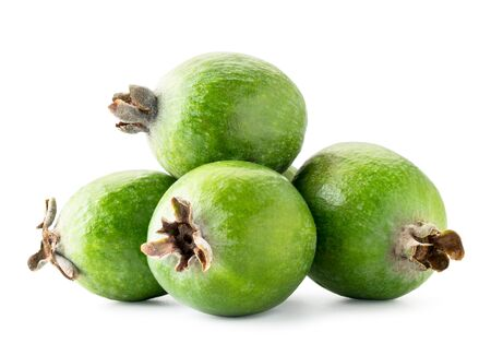 Pile of ripe feijoa on a white background. Isolated.