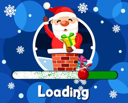 Loading Christmas, Santa Claus sitting in the chimney with a gift and waving. Christmas banner.