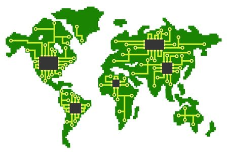 Map of the planet earth in the form of an electrical circuit with processors on a white.