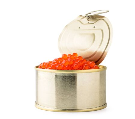 Pile of red caviar in a can close-up on a white background. Isolated