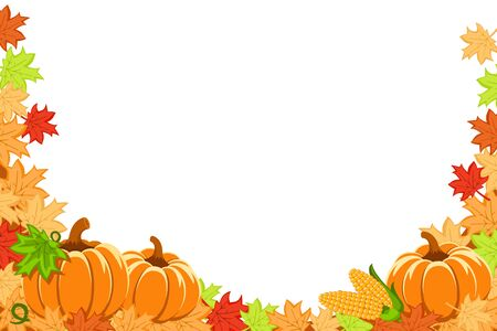 Autumn leaves, pumpkins and corn on a white background. Thanksgiving, place for text. Banco de Imagens