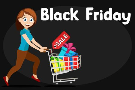 Woman runs with a cart of gifts on a black background, place for text. Black Friday sale
