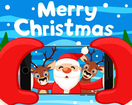 Santa Claus takes a selfie with reindeer on his phone. Christmas background