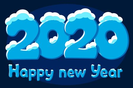 Text 2020 in the snow, winter font. New Year