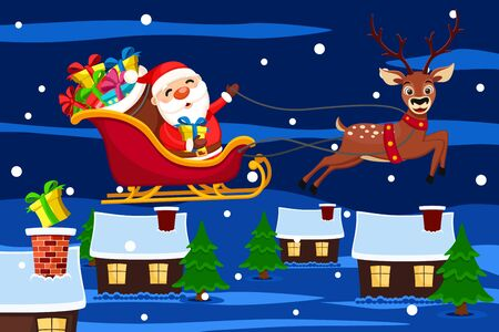 Santa Claus in a sleigh flies with a deer over the houses and throws gift boxes into the chimneys. Christmas background