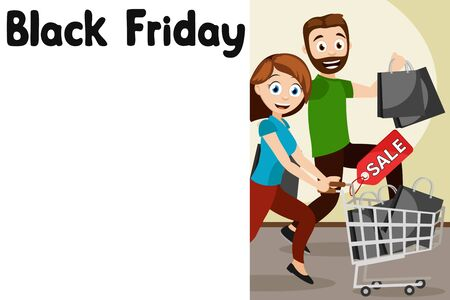 Man and woman running for discount shopping, a place to text. Black Friday