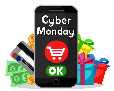 Cyber Monday, shopping online via smartphone on a white.