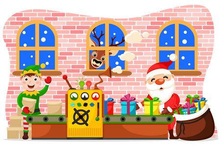 Production of Christmas toys. Santa Claus puts gifts in a bag, the elf delivers blanks and the deer looks in window. Çizim