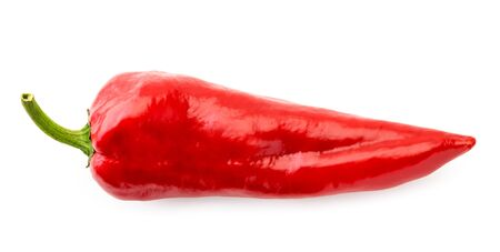 Red pepper on a white background. The view of the top.