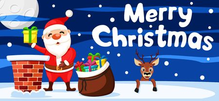 Santa Claus takes gifts out of the bag and the deer looks out from behind roof. Christmas background