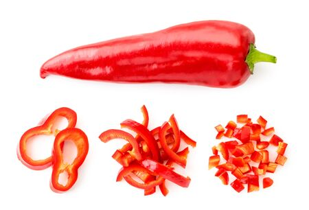 Sweet red pepper and three piles of sliced pieces, set on a white background. The view of top.