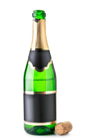 Open bottle of champagne is half empty with a cork on a white. Isolated Stok Fotoğraf