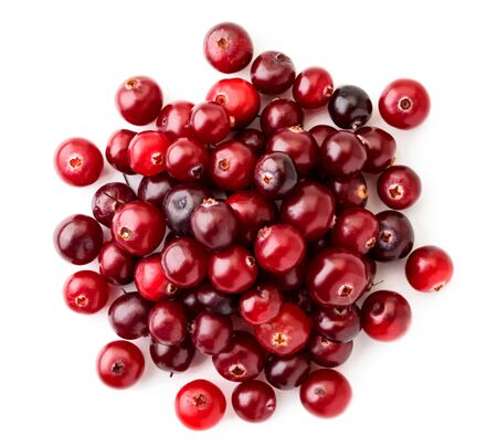 Pile of red cranberries on a white background. The view of top.