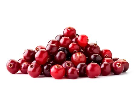 Pile of ripe cranberries close up on a white background. Isolated.