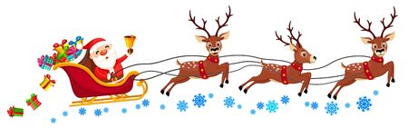 Santa Claus is riding a sleigh with reindeer and ringing a bell on a white background. Christmas character