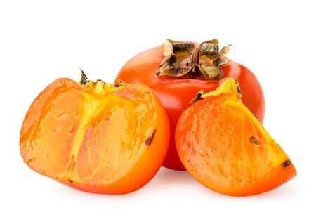 Ripe persimmon, half and piece on a white background. Isolated Stok Fotoğraf