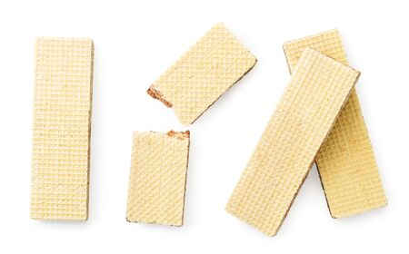 Set of waffle sticks on a white background. The view of top.
