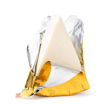 Cheese in the foil, package open on a white. Isolated.