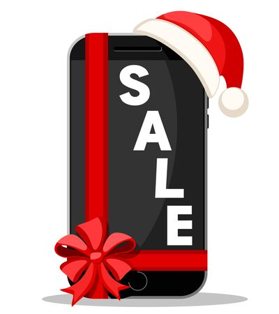Smartphone with red bow and Santa Claus hat on a white. Christmas sales