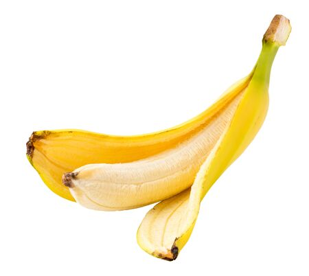 Cut a peeled banana on a white background.