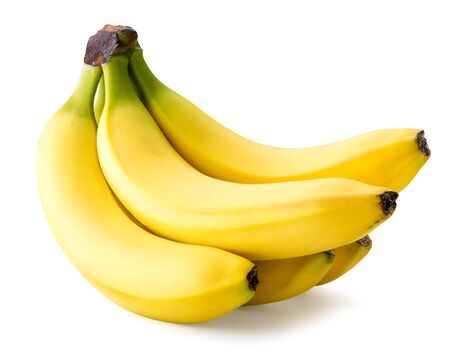 Racimo de plátanos maduros sobre un fondo blanco. Aislado