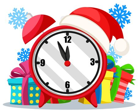 Alarm clock with gifts on a white background, the new year is coming.