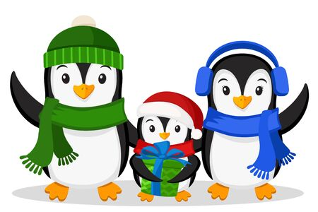 A family of penguins and the little penguin with a gift on white background. Christmas characters Stok Fotoğraf