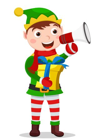 Santa assistant, helper holds a gift in his hands and speaks into a megaphone on a white background. Christmas character Reklamní fotografie