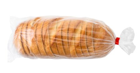 Loaf of sliced bread in a package on a white background.