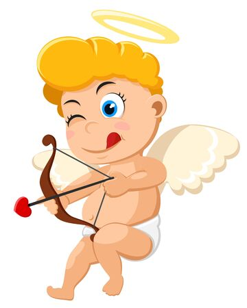 Cupid takes aiming to shoot a bow on a white background. Valentines day Banque d'images - 138802536