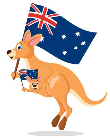 Kangaroo with a baby in a bag jump and wave flags on a white background. Australia day Stock Illustratie